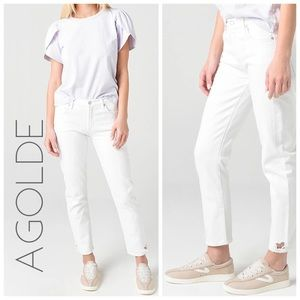 NWT Agolde Toni mid rise straight jeans ivory 32